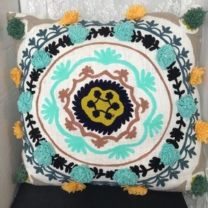 "Other - 17"" Square Throw Pillow Embroidery and Pom Poms"